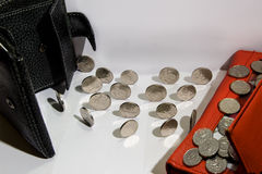 Exchange of coins Stock Images