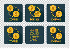 Exchange of cryptocurrency Ethereum Classic  icons on a dark background Royalty Free Stock Photos