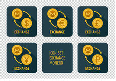 Exchange of cryptocurrency Monero  icons on a dark background. Exchange cryptocurrency Monero  icons on a dark background with arrows and long shadows Stock Photo