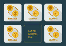 Exchange cryptocurrency NEM for different currencies Royalty Free Stock Photos