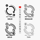 Exchange, currency, finance, money, convert Icon in Thin, Regular, Bold Line and Glyph Style. Vector illustration. Vector EPS10 Abstract Template background stock illustration