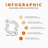 Exchange, currency, finance, money, convert Infographics Template for Website and Presentation. Line Gray icon with Orange. Infographic style vector stock illustration