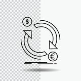 Exchange, currency, finance, money, convert Line Icon on Transparent Background. Black Icon Vector Illustration. Vector EPS10 Abstract Template background vector illustration