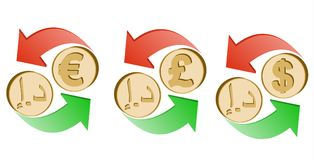Exchange dirham to euro, pound sterling and dollar. On a white background , sign currency in the form coin with green and red arrow , color design concept Stock Image