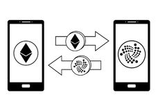 Exchange between ethereum and iota in the phone. Crypto-currensy exchange concept black and white Royalty Free Stock Image