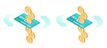 The exchange of euros to dollars. The banking via credit card. The exchange of euros to dollars. The currency conversion process. Flat vector isometric stock illustration
