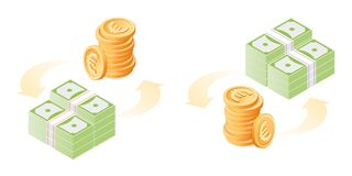 The exchange of euros to paper dollars. Flat isometric illustrat. The exchange of euros to dollars. The currency conversion process. Flat vector isometric vector illustration