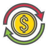 Exchange filled outline icon, business and finance Stock Image