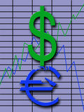 Exchange Fluctuations. Showing graph comparatively dollar and euro Stock Photos