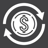 Exchange glyph icon, business and finance, dollar Royalty Free Stock Photos
