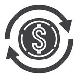 Exchange glyph icon, business and finance, dollar Royalty Free Stock Images