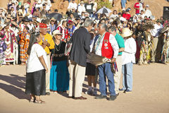 Exchange of handshake between Senator John Kerry with Intertribal Council President, Gallup, NM Royalty Free Stock Photography