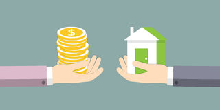 The exchange of house on the money Stock Photos
