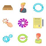 Exchange icons set, cartoon style. Exchange icons set. Cartoon set of 9 exchange vector icons for web isolated on white background Royalty Free Stock Photo