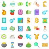 Exchange icons set, cartoon style. Exchange icons set. Cartoon style of 36 exchange vector icons for web isolated on white background Stock Photos