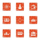 Exchange icons set, grunge style. Exchange icons set. Grunge set of 9 exchange vector icons for web isolated on white background Royalty Free Stock Images