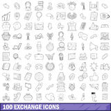100 exchange icons set, outline style. 100 exchange icons set in outline style for any design vector illustration Royalty Free Stock Photo