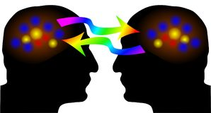 Exchange of ideas. Brain activity in human silhouette: exchange of ideas Stock Photos