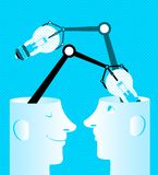 Exchange of ideas. Bulbs in heads. Vector illustration Royalty Free Stock Photo