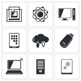 Exchange of information technology icon collection royalty free illustration