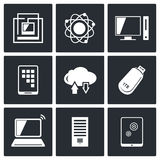 Exchange of information technology icons set Royalty Free Stock Photo