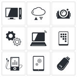 Exchange of information technology icons set Royalty Free Stock Photos