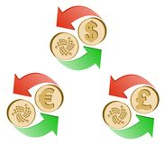 Exchange iota to dollar,euro and british pound. Coins of iota and dollar, euro and british pound with green and red arrow , icon  and symbol , exchange crypto Royalty Free Stock Photo