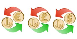 Exchange rial to euro, pound sterling and dollar. Exchange iranian rial to euro, pound sterling and dollar on a white background , sign currency in the form coin Stock Photos
