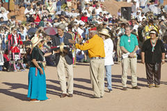 Exchange of item between Senator John Kerry and member of Intertribal Indian Ceremony, Gallup, NM Stock Image