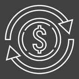 Exchange line icon, business and finance, dollar. Sign vector graphics, a linear pattern on a black background, eps 10 Stock Image