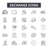 Exchange line icons for web and mobile design. Editable stroke signs. Exchange  outline concept illustrations. Exchange line icons for web and mobile. Editable vector illustration