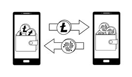 Exchange between litecoin and iota in the phone. Crypto-currensy concept black and white, mobile bank Stock Images
