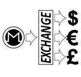 Exchange monero to dollars,euro and British pound. Black and white concept design with word exchange in the middle Royalty Free Stock Image
