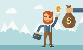 Exchange of money in idea. A hipster Caucasian businessman with beard exchange his hand with idea bulb to hand of money bag. Exchanging concept. A contemporary Royalty Free Stock Photos