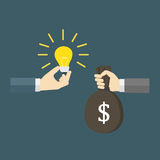 Exchange money with the idea,  Paying for innovation and creativity. Two people exchange money with the idea Royalty Free Stock Image