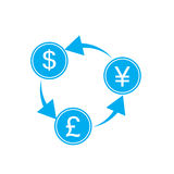 Exchange money on white background. Exchange money sign Royalty Free Stock Image