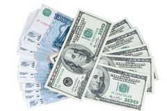 Exchange Of Currency Roubles And Dollars Royalty Free Stock Photo