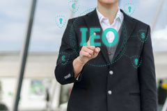 Exchange Offering IEO graphic and businessman royalty free stock images