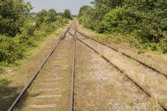 Exchange in an old railway line Royalty Free Stock Images