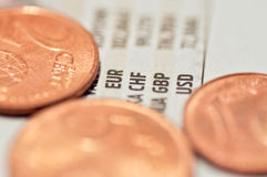 Exchange rate and coins Stock Photos