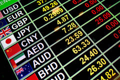 Exchange rate currency on digital board for business money conce Stock Photos