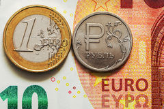 Exchange rate: euro per ruble Stock Photo
