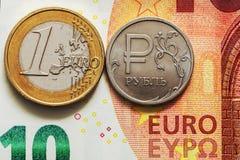 Exchange rate: euro per ruble Stock Photo
