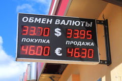 Exchange rate before falling of ruble exchange rate Stock Photography
