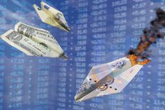 Exchange rate illustration. Strong dollar and euro rate hits rouble like one war paper plane hits another. Dollar vs ruble. US dol. Lar and Euro grow up. World royalty free stock image