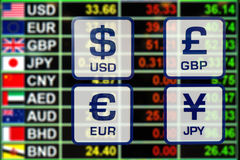 Exchange rate on LED digital board for business money concept Royalty Free Stock Images