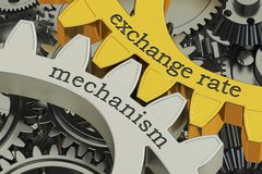 Exchange rate mechanism concept on the gearwheels, 3D rendering. Exchange rate mechanism concept on the gearwheels, 3D Royalty Free Stock Photography