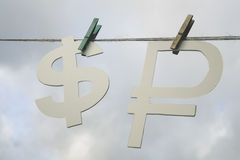 Exchange rate. The Russian ruble and the dollar. Stock Photos