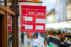 Exchange rate table on the street Royalty Free Stock Image
