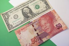 Exchange rate US dollar and South African rand Stock Photos